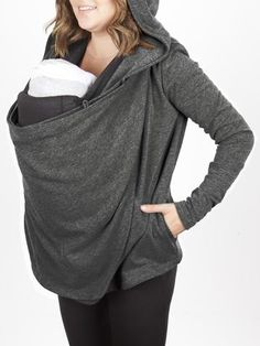 Babywearing sweater and Nursing cover Large lined pockets Three button loop holes Super soft, French Terry Material Cotton, Rayon and Spandex blend Light weight breathable Made in the USA Machine wash