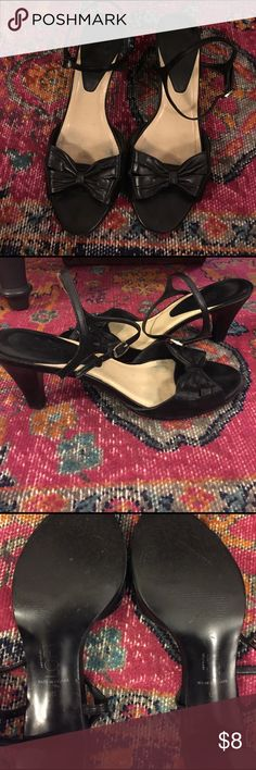 Cute bow peep toe strappy heels The Loft strappy heels are so cute with the peep toe bow. They have been worn, but have some life left to them, quite comfy too! LOFT Shoes Heels