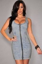 Light Acid Wash Denim Gold Zipper Accent Dress