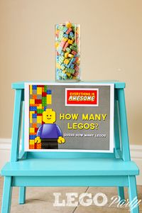 Lego Birthday Party Ideas. Lego games, Guess How many Legos. Other fun Lego Games. Printable Game Signs.