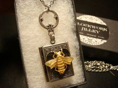 Steampunk Style Heart with Bee  Book LOCKET by ClockworkAlley  #steampunkjewelry #steampunknecklace #steampunkbee #bee #locketnecklace #booklocket #heart #heartlocket