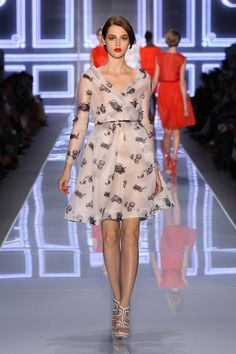 Dior S/S 2012 Collection / Look N° 18 / READY-TO-WEAR / Printed silk gazar dress with silver chain belt.