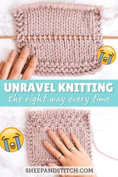 Learn how to unravel knitting the right way In this post I go over three ways to unravel knitting including my preferred method Fun fact sometimes unravelling is called frogging sheepandstitch knitting knittingtutorials unravelling Knitting Help, Knitting Stitches, Knitting Patterns, Start Knitting, Stitch Patterns, Cowl Patterns, Sock Knitting, Knitting Machine, Vintage Knitting