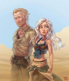 Daenerys Targaryen and Ser Jorah Mormont - Emilia Clarke, Iain Glen, Game of Thrones, Song of Ice and Fire, Disney Ned Stark, Arte Game Of Thrones, Ser Jorah Mormont, Estilo Disney, Game Of Trones, Cersei Lannister, Daenerys Targaryen, Jaime Lannister, Got Memes