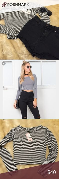 Black & white striped crop top! Never worn w tags! Never worn with tags! In perfect condition! Black and white striped crop top. Size medium! ShowPo Tops Crop Tops