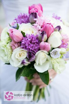 Colourful Bouquet featuring Roses, Hyacinth, Tulips, freesias & lisianthus