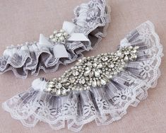 Gray Bridal garter set, Gray Wedding Garter set, Lace Garter, Lace Wedding Garter, Gray Garter Set FANTASTIC BRIDAL GARTER SET FOR A REAL QUEEN ONLY AT GARTERQUEEN ! ! ! ADD A MONOGRAM TO YOUR GARTER! ***********************DETAILS ************************** These bridal garters are