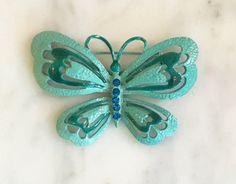 Vintage 60s Metal Butterfly Brooch Enamel Jewelry 1960s
