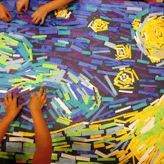 Vincent Van Gogh Small Group Collaborative Art Challenge for Van Gogh. Different artwork, colored paper strips and a large piece of paper. Small Teams work to replicate the piece. Group Art Projects, School Art Projects, Collaborative Art Projects For Kids, Class Projects, Art Projects For Kindergarteners, Art Education Projects, Van Gogh Art, Art Van, Vincent Van Gogh