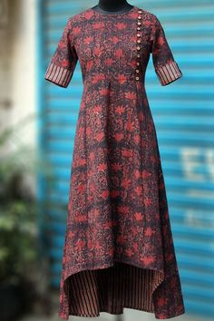 MaatiCrafts Red Printed High Low Kurti