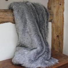 Faux Fur Throw, Grey & Stone
