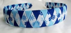 Woven headband with blue and light blue grosgrain ribbon snowflakes | perfect for my frozen bows!!