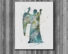 Tardis Doctor Who Poster Weeping Angel by digitalaquamarine