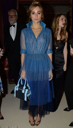 Suki Waterhouse in Burberry dress, Burberry bag - 2014 British Fashion Awards in London.  (December1, 2014)