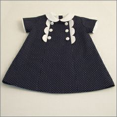 Scallop detail in the seams - little girl's dress (Would also look cute as a full-size 60's style women's dress too!)