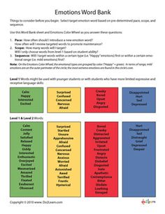 Emotions Word Bank - Repinned by http://www.AllThingsPrivatePractice.com