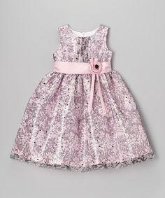 Look what I found on #zulily! Pink & Black Glitter Floral Dress - Girls #zulilyfinds