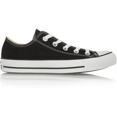 Converse Chuck Taylor All Star canvas sneakers ($66) ❤ liked on Polyvore featuring shoes, sneakers, black, converse, black lace up shoes, black trainers, canvas shoes, star sneakers and black sneakers