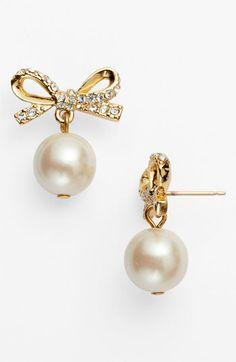 kate spade new york 'skinny mini' bow drop earrings | Nordstrom