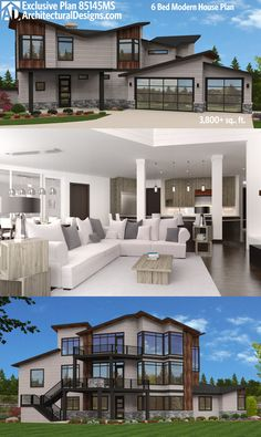 Architectural Designs Exclusive 6 Bed Modern House Plan 85145MS. Designed for a rear-sloping lot, it gives you over 3,800 square feet of living spread across 3 levels.  Ready when you are. Where do YOU want to build?