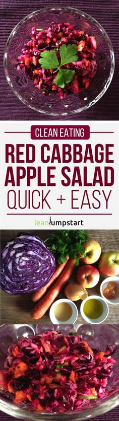 Taste this crunchy and delicious clean eating red cabbage salad recipe. It is perfect as a fresh dinner starter or a quick lunch on the go. Click here!