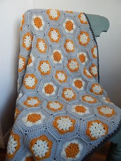 This hexagon granny blanket / throw was hand crochet of hight quality yarn in mustard ,light grey and cream colour . The blanket is my own design and each one is unique . A perfect for sofa ,chair or bed . Measures approximately : x cm . Crochet Granny, Hand Crochet, Hexagon Crochet, Handmade Items, Handmade Gifts, Cream Colour, Color, Mustard, Blanket