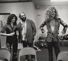Jimmy Page, Peter Grant and Robert Plant backstage in Indianapolis 1975