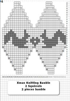 2 Squirrels - 2 pieces of Xmas Knitting Bauble Pattern #knitted_balls