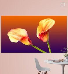 2 staande aronskelken in de kleuren rood en geel op een gekleurde achtergrond van paars naar oranje. Canvas, Prints, Flowers, Painting, Art, Tela, Art Background, Florals, Painting Art
