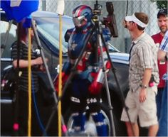"On the set of Iron Man 3.  ""Iron Patriot"""