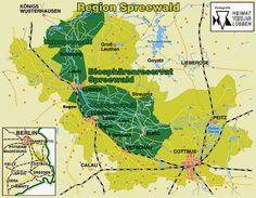 Übersichtskarte Spreewald mit Links zu Gemeinden, Ämtern und Fremdenverkehrsvereinen