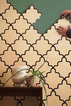 Tarsine, Modular Wall Covering for Portego. Design by Serena Confalonieri. Laser Cutter Ideas, Laser Cutter Projects, Lounge Design, Wood Wall Tiles, Flooring Tiles, Home Interior, Interior Design, Mdf Wall Panels, Router Projects