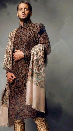 Fashion Styles, Men's Fashion, Fashion Dresses, Fashion Design, Folk Costume, Costumes, Achkan, Wedding Sherwani, Indian Man
