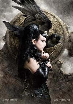 """The Morrigan (artwork by Jason Juta): """"Phantom Queen"""" - Irish Goddess of battle, strife and sovereignty. Sometimes appears in the form of a crow, flying above the warriors. She is generally considered a war deity comparable with the Germanic Valkyries. Often depicted as a triple deity (most common combination is Badb, Macha and Nemain)."""