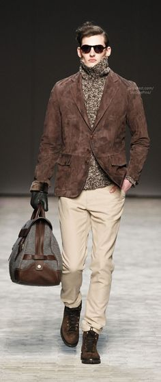 Brown Suede Jacket, Marled Gray Turtleneck, and Leather Duffle, by Joseph Abboud. Men's Fall Winter Fashion.