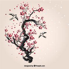 Pintados à mão cereja árvore Mais