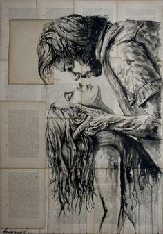 The fury of love painting by krzyzanowski art saatchi art Couple Painting, Couple Art, Love Painting, Ink Painting, Drawn Art, Romance Art, Art Watercolor, Dark Art Drawings, Wow Art