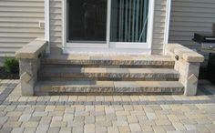 Paver Patio Steps Yards Ideas For 2019 Patio Steps, Outdoor Steps, Backyard Patio Designs, Diy Patio, Backyard Pavers, Backyard Ideas, Concrete Patio Designs, Modern Backyard, Yard Design