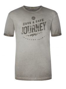 Übergröße: camel active, Cooles Vintage-T-Shirt ,Have a save Journey' in Grau für Herren