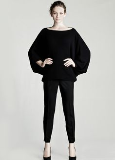 Cashmere Bateau Neck Sweater and Stretch Wool Stanton Pant