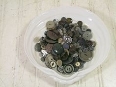 Vintage Variety of Grey / Gray Buttons Collection - 180 Buttons for Repurposing Upscaling Upcycling Sewing Crafts Assemblage Mixed Media Art $12.00 by DivineOrders
