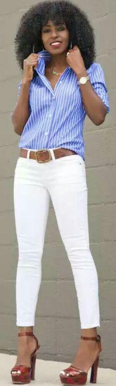 Striped Button-Down Shirt + White Pegged Jeans / Fashion by Style Pantry