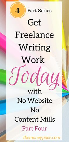 For those looking for freelance writing work from home, this 4 part series will show you how to get freelance writing jobs with no website and not using content mills. Instead get freelance gigs the easy way and make more money starting today. Job Freelance, Freelance Writing Jobs, Online Writing Jobs, Online Jobs, Blog Writing, Writing Tips, Writing Resources, Fiction Writing, Writing Skills