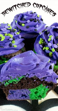Our Bewitched Halloween Cupcakes make a beautiful and colorful Halloween Treat that is easy to create and will make a big impact at your Halloween party.  For more fun Halloween Food Ideas follow us at http://www.pinterest.com/2SistersCraft/