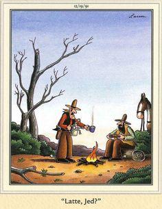 The Far Side - by Gary Larson Gary Larson Comics, Gary Larson Cartoons, Far Side Cartoons, Far Side Comics, Comics Illustration, Illustrations, Cartoon Jokes, Funny Cartoons, Cowboy Humor
