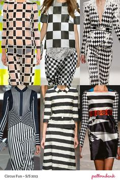 Grid-like Checks / Checkerboard Mixes / Harlequin Use / Retro Pop-art References / Horizontal Painterly Stripes / Bold Stripes / Picasso Inspired