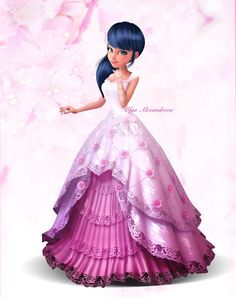 Marinette in her beautiful pink dress from Miraculous Ladybug and Cat Noir Miraculous Ladybug Wallpaper, Miraculous Ladybug Fan Art, Disney Princess Frozen, Barbie Princess, Meraculous Ladybug, Ladybug Comics, Miraculous Marinette, Cat Noir Cosplay, Ladybug Und Cat Noir