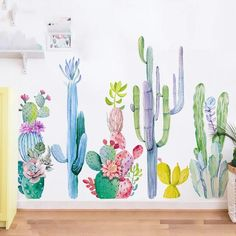 Cactus Wall Decals – the treasure thrift Kids Wall Decor, Nursery Wall Decor, Girl Nursery, Decoration Cactus, Et Wallpaper, Cactus Art, Cactus Plants, Printed Cushions, Wall Murals