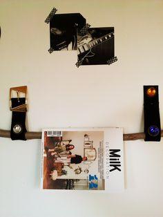 Vintage DIY magazine hanger- woden stick and leather vintage belt :-)