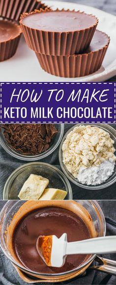 Make your own DIY low carb milk chocolate candy! #keto #glutenfree #lowcarb #chocolate#dessertsIt's easy to make them, and you can use whatever molds you like, so you can shape them into bars or use cupcake wrappers like I do. One of my favorite keto & lchf recipes, and great if you're looking for snacks that promote weight loss. I use a mixture of bakers chocolate, cocoa butter, stevia, and protein powder. Easy to convert to paleo -- use non-dairy protein powder. Chocolate Bonbon, Bakers Chocolate, Chocolate Desserts, Low Carb Milk Chocolate Bar Recipe, Chocolate Bars, Keto Recipes, Dessert Recipes, Snack Recipes, Keto Candy